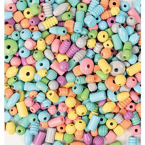Holzperlen-Mix pastellfarben 1 Kg