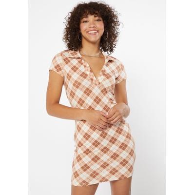 Rue21 Womens Camel Plaid Print V Neck Polo Dress - Size M