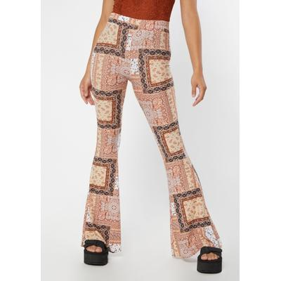 Rue21 Womens Brown Patchwork Print Super Soft Flare Pants - Size M