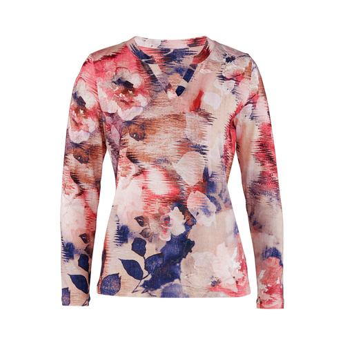 Avena Damen Blüten-Shirt Extraweich Beige