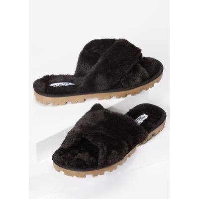 Rue21 Womens Black Faux Fur X Strap Lug Sole Slippers - Size 10