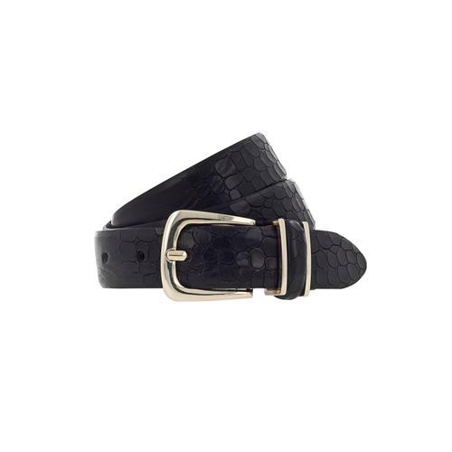 b.belt Ledergürtel, Bombierter Vollledergürtel mit Prägung schwarz Damen Ledergürtel Gürtel Accessoires