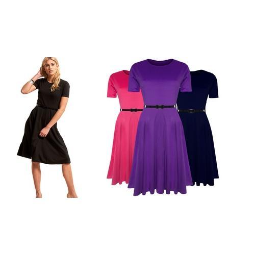 Damen-Kleid mit Gürtel: Kirschrot/ Gr. M-L