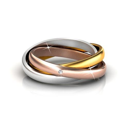 3-in-1 Damen-Ring mit Kristall: Gr. 56