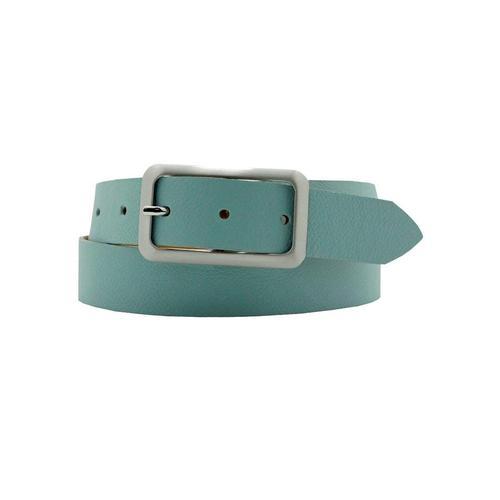 AnnaMatoni Ledergürtel, Mit satinierter eckiger schlichter Gürtelschließe blau Damen Ledergürtel Gürtel Accessoires