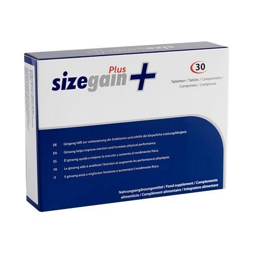 Natürliche Nahrungsergänzung für männliche Leistungsfähigkeit SizeGain Plus - 30 Tabletten - Natürliches Potenzmittel für Männer