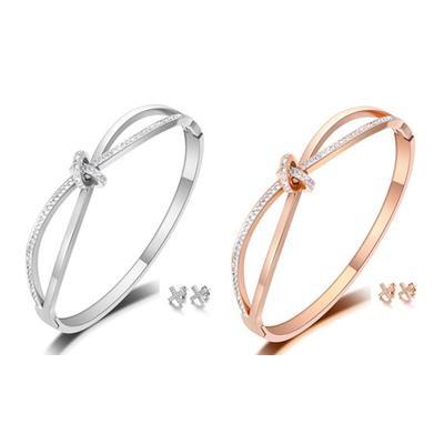 Parure ornée de cristaux Swarovski® : Argent - rose / x 2