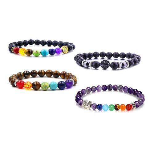 Chakra-Armband: Lebensbaum / Lava-Silber / 1
