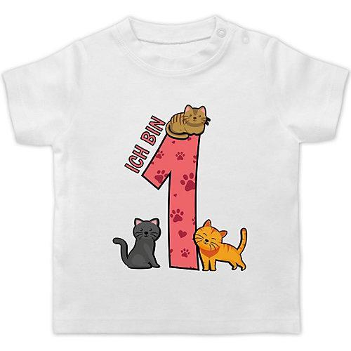 Baby Geburtstag Geburtstagsgeschenk 1. Geburtstag Katzen T-Shirts Kinder weiß Kleinkinder