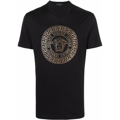 Versace T-Shirt mit Medusa-Kristallapplikation