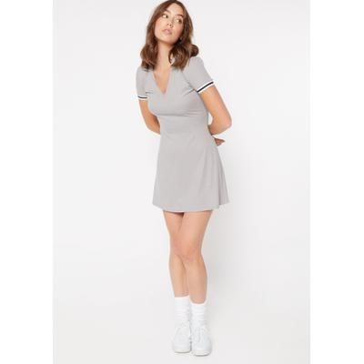 Rue21 Womens Heather Gray Super Soft Striped Sleeve Polo Dress - Size Xl