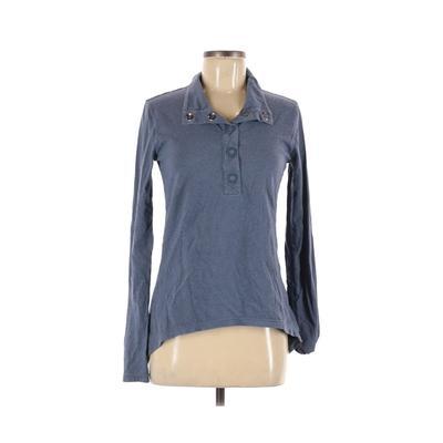 Merrell Long Sleeve Henley Shirt: Blue Solid Tops - Size Medium