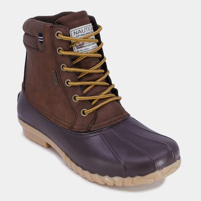 Nautica Men's Water-Resistant Lace-Up Duck Boot Brown Stone, 8