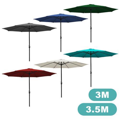 3m Sonnenschirm Marktschirm mit Handkurbel UV30+ Outdoor-Schirm Terrassen Gartenschirm Blau 3m