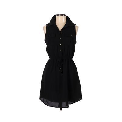 Gypsies & Moondust - Gypsies & Moondust Casual Dress - Shirtdress: Black Solid Dresses - Used - Size Large