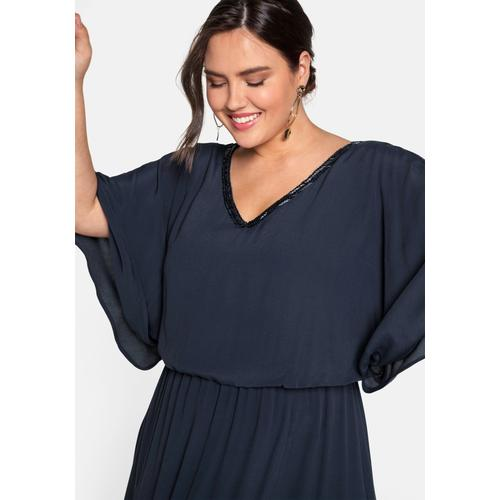 Sheego Abendkleid, mit Rockteil in Wickeloptik blau Damen Abendkleider Kleider Abendkleid