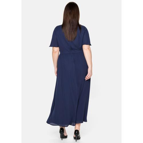 Sheego Abendkleid, mit schimmernden Pailletten blau Damen Abendkleider Kleider Abendkleid