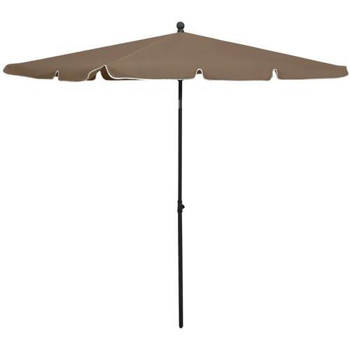 Sonnenschirm mit Mast 210x140 cm Taupe