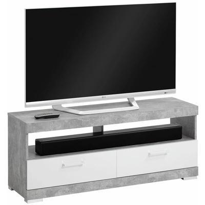 Zqyrlar - FMD TV/Hi-Fi Stand Concrete Grey and Glossy White - Grey