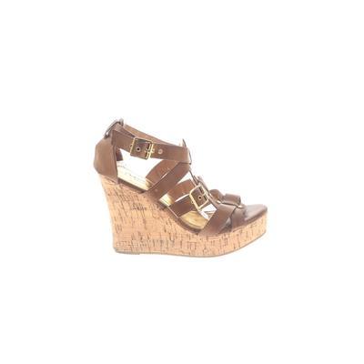 IF Carrini International Fashion - IF Carrini International Fashion Wedges: Brown Solid Shoes - Size 8