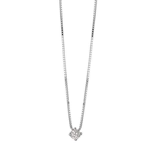 Collier 750/18 K Weissgold Diamant 0.05 ct 42 cm Ø2.5 mm