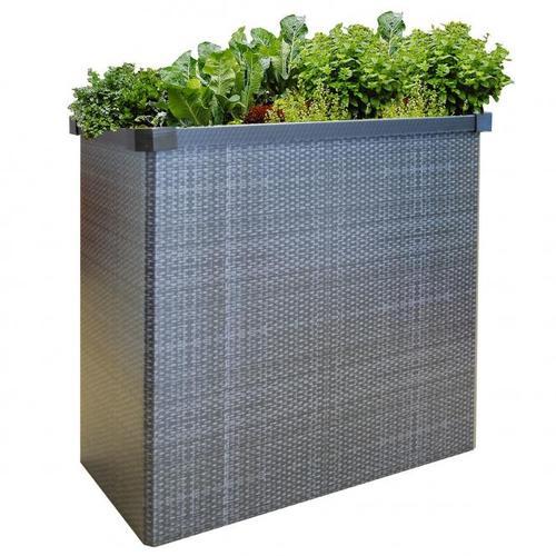 Balkon Hochbeet, Easy Garden, faltbar, Rattanoptik, ca. 80 x 40 x 75 cm