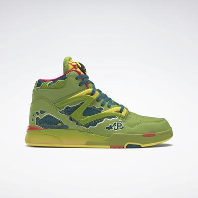 Reebok Unisex Jurassic Park Pump Omni Zone II Men's Basketball Shoes in Ultra Lime/Heritage Teal/Stinger Yellow Size M 8 / W 9.5 - Basketball Shoes
