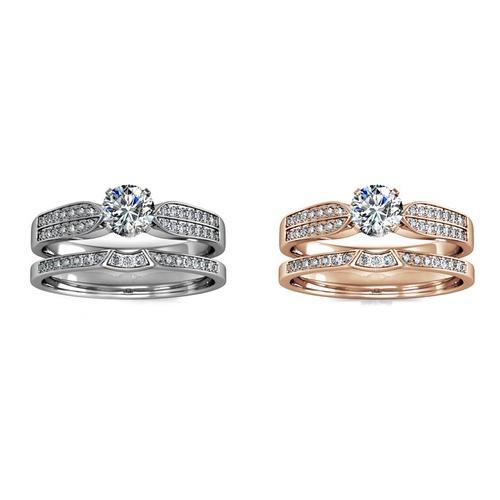 Damen-Ring mit Kristallen: Roségold/Gr. 54