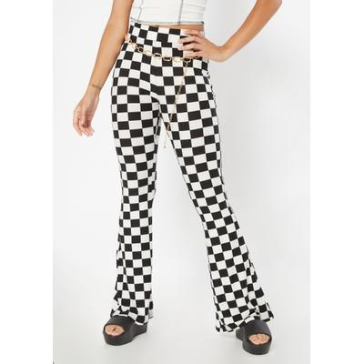 Rue21 Womens Checkered Print Super Soft Flare Pants - Size S