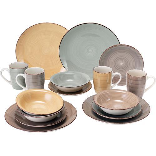 van Well Geschirr-Set Sorrento, (Set, 16 tlg.), Mix aus 4 Farben bunt Geschirr-Sets Geschirr, Porzellan Tischaccessoires Haushaltswaren