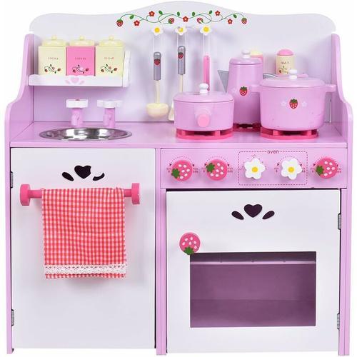 Kinderküche aus Holz, Spielküche mit Wasserhahn, Spielzeug-Küchenzeile, Spielzeugküche mit