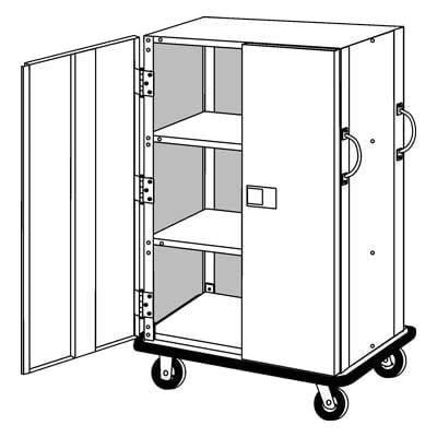 """Forbes Industries 1228-SEBD 3 Shelf Linen Cart w/ Solid Panels & Locking Doors - 52""""L x 28 1/2""""W x 68 1/2""""H, Steel"""