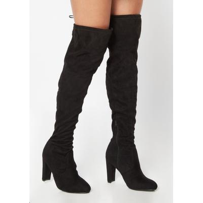 Rue21 Womens Black Faux Suede Over The Knee Heel Boots - Size 10