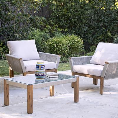 Brendina Outdoor Armchair w/ Cushions – 2pc Set by Southern Enterprise in Natural