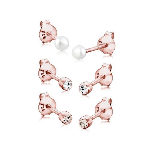 Ohrringe Kugel Perle Set Kristalle 925 Silber Elli Rosegold