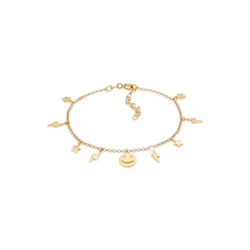 Armband Stern Blitz Smiley Kristalle Boho 925 Silber Elli Gold