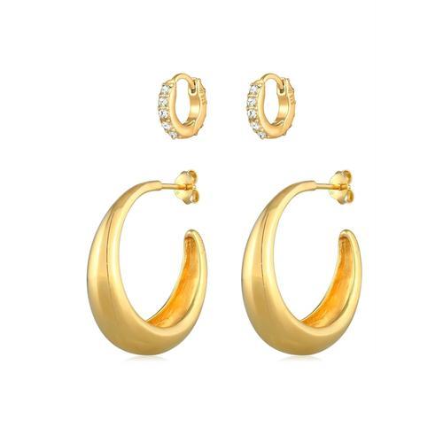 Ohrringe Creolen Basic Mini Kristalle 2Er Set 925 Silber Elli Premium Gold