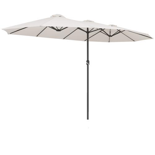 Kingsleeve Doppelsonnenschirm XXL 4,6m UV Schutz 40+ Wasserabweisend Creme Doppelschirm Sonnenschirm