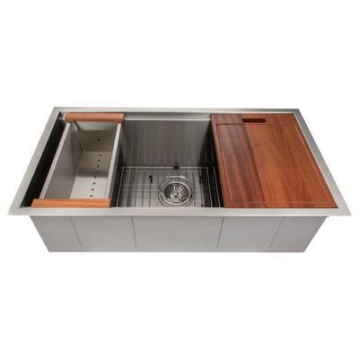 ZLINE Garmisch 33 Inch Undermount Single Bowl Sink in DuraSnow® Stainless Steel with Accessories (SLS-33S) - ZLINE Kitchen and Bath SLS-33S