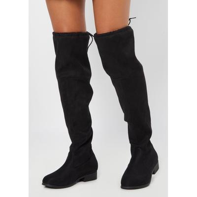 Rue21 Womens Black Faux Suede Over The Knee Flat Boot - Size 10