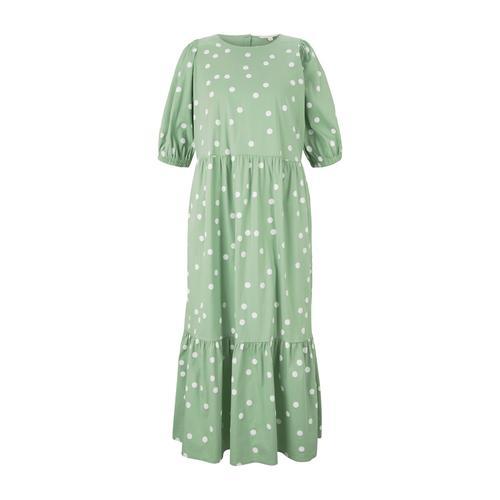 TOM TAILOR DENIM Damen gepunktetes Midi Kleid, grün, Gr.L