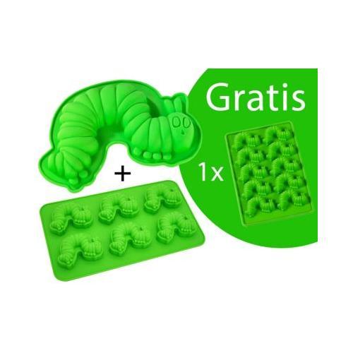 Backform-Set Raupe Nimmersatt Silikon Backformen grün