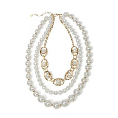 Boston Proper - Pearl And Link Three-Strand Necklace - White/gold - One Size
