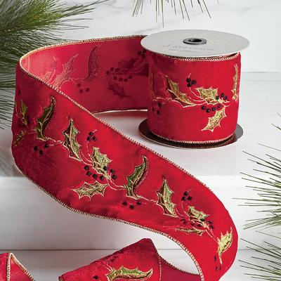 Holly Embroidery Ribbon - Frontgate