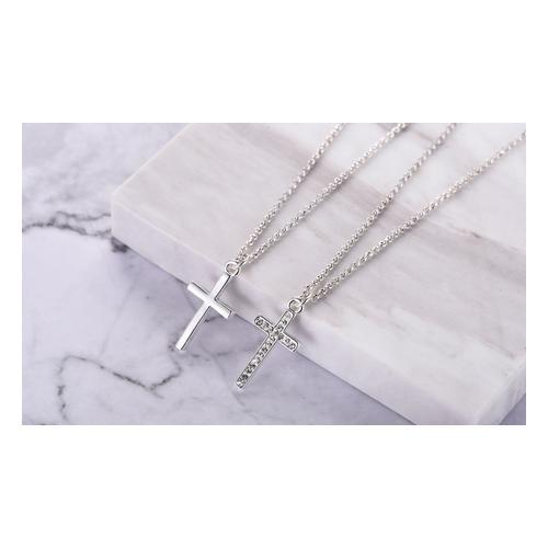 Halskette: 2x/ Halskette mit Kreuz-Anhänger