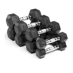 Rubber Coated Hex 20kg Dumbbell - Pair - Ironman