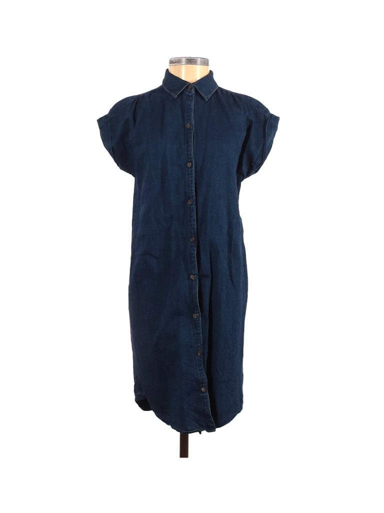 Old Navy Casual Dress - Shirtdress: Blue Solid Dresses - Used - Size 2X-Small