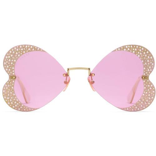 Gucci Sonnenbrille mit herzförmigem Rahmen und Kristallen