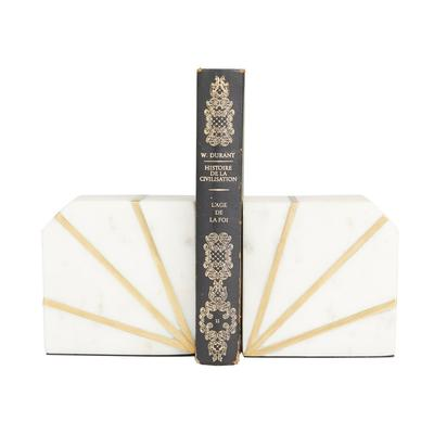 Juniper + Ivory CosmoLiving by Cosmopolitan Set of 2 5 In. x 4 In. Natural Bookends White Marble - 89576