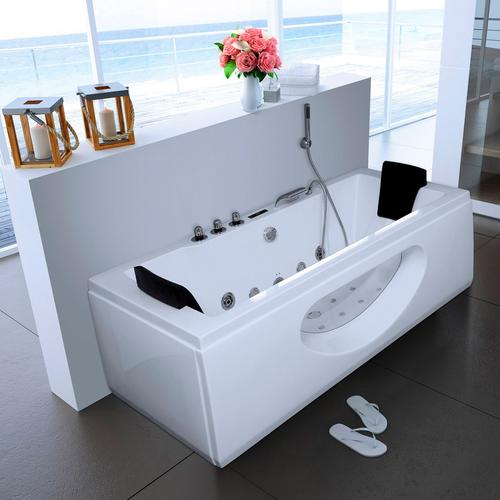 HOME DELUXE Whirlpool-Badewanne »White M«, B/T/H in cm: 180/90/55, mit Whirlpool-System